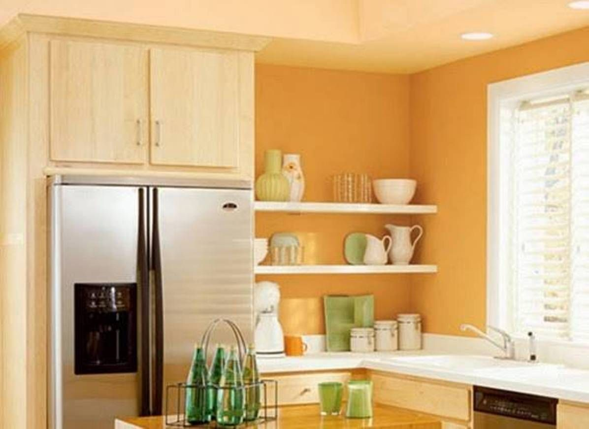 kitchen , vibrant orange kitchen walls : light orange kitchen