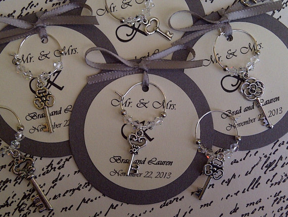 custom antique skeleton key wine charm favors by fromappalachia 225