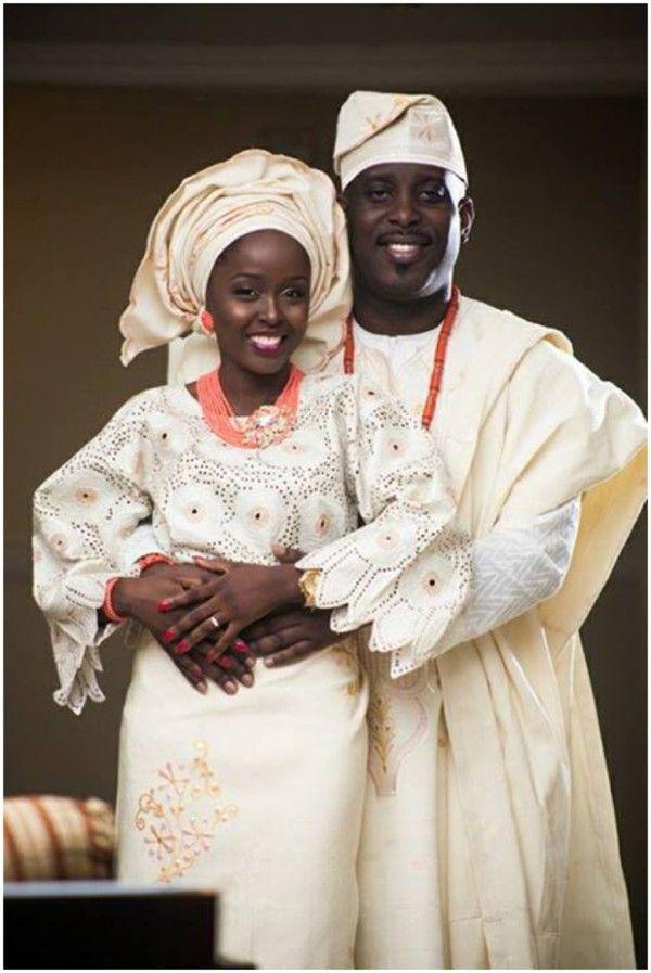 Thiland Wedded Couple Attires Cream Off White Yoruba Wedding Couple Wedding Galore