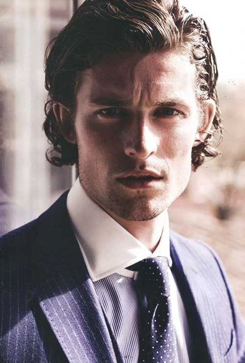 Slicked Back Wavy Hair Mens Hairstyles Curly Hair Men Mens Hairstyles Medium