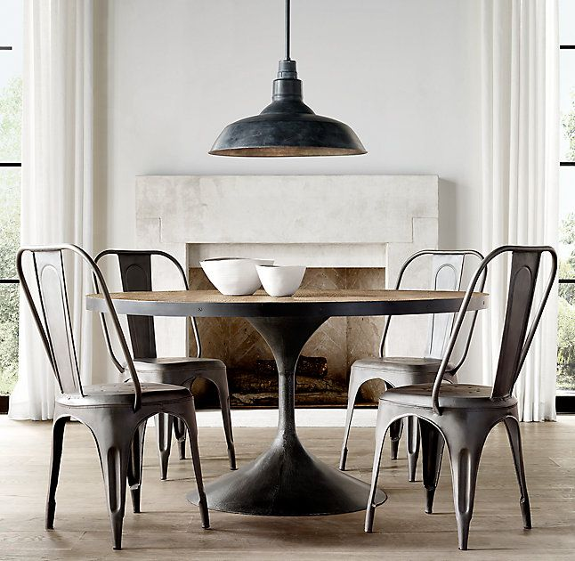 Rh S Aero Round Dining Table Paying Homage To The Sweeping Lines Of Mid Century Furnishings Our Table Is A Dining Table Metal Dining Table Round Dining Table