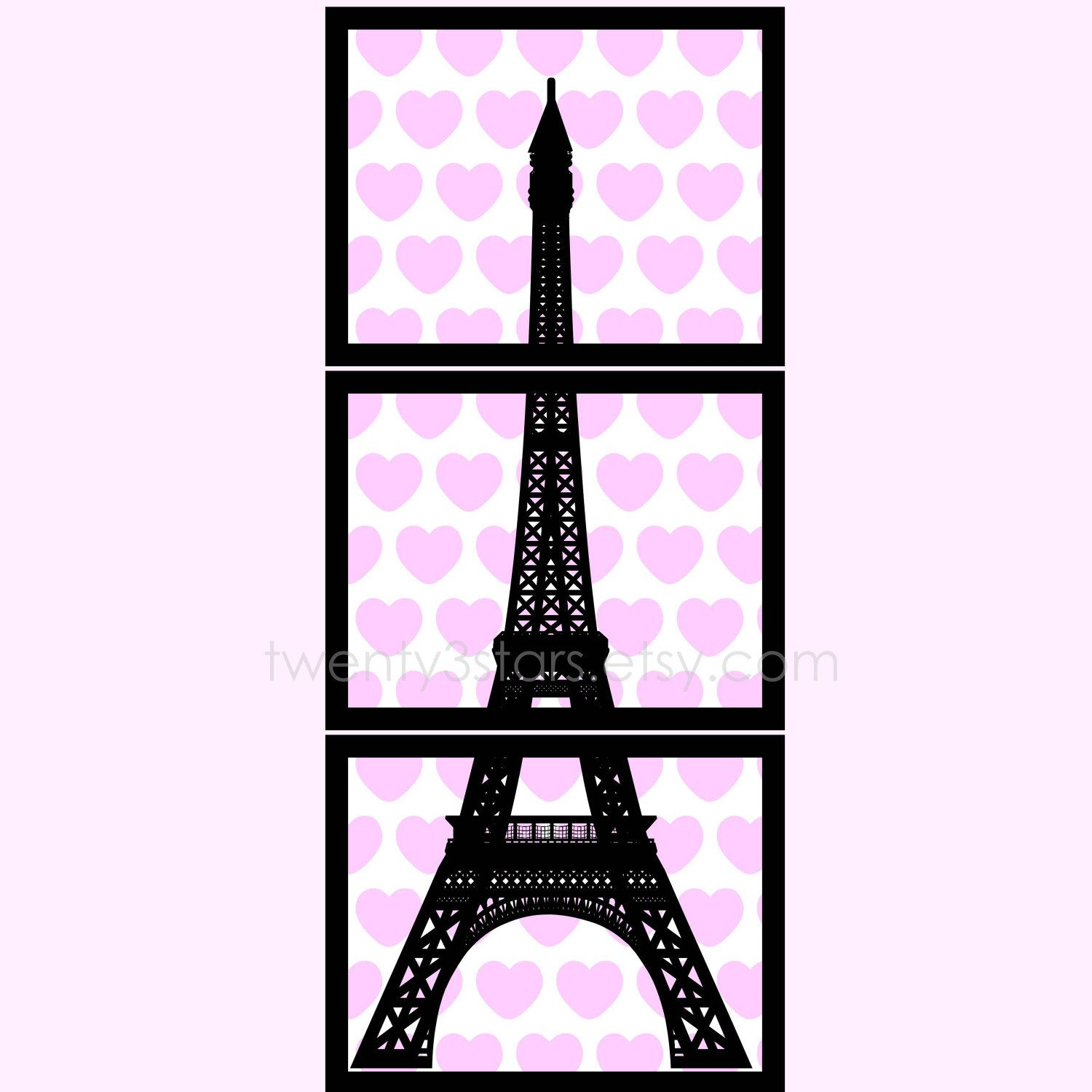 Kinderzimmer wand zitate eiffel tower triptych giclée prints with hearts or flowers perfect