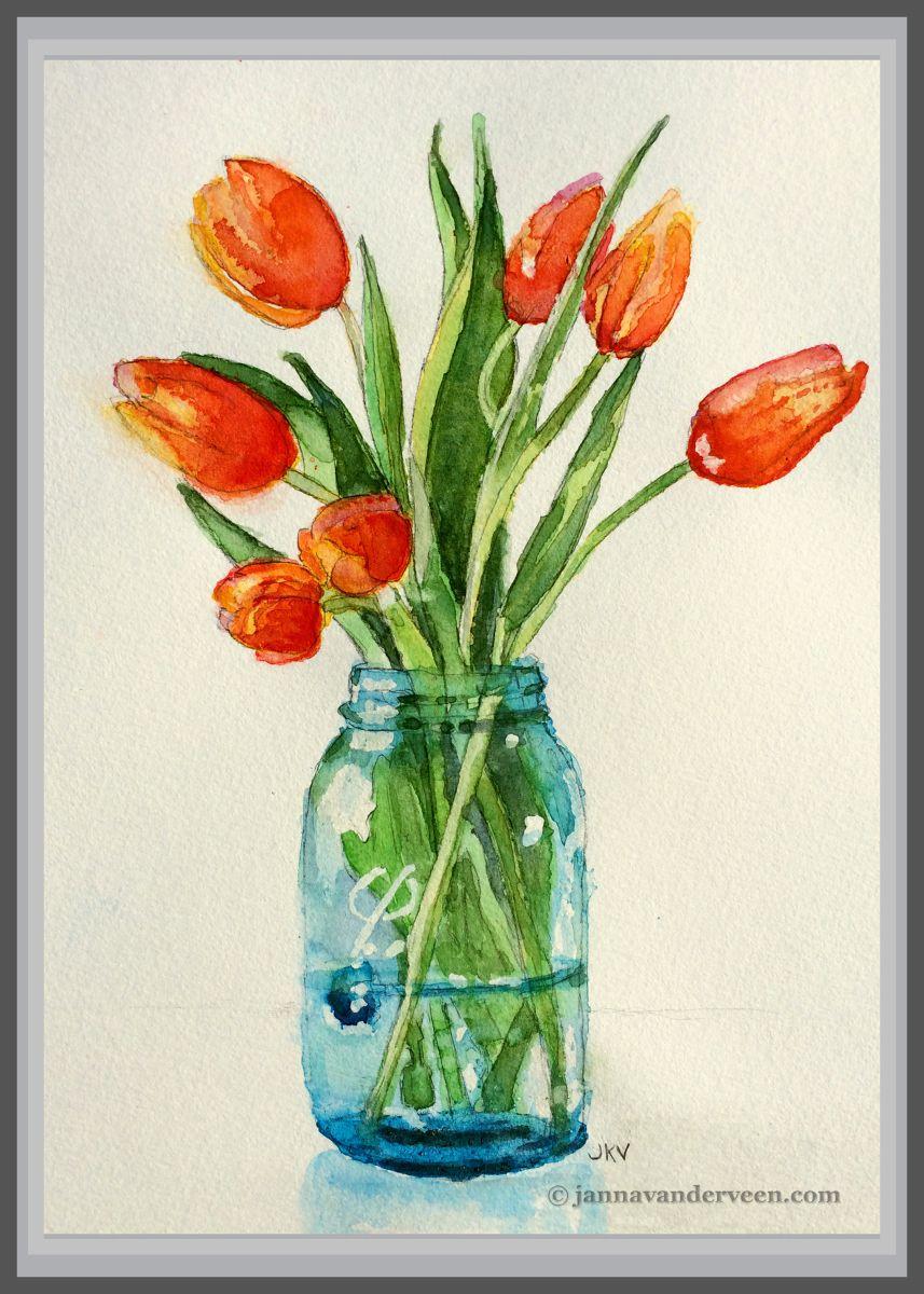 Watercolor Tulips In Blue Vase Watercolor Tulips Watercolor