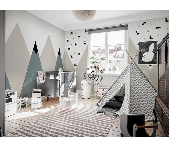 Modern Simple Geometric Mountains Wallpaper Wall Mural, Geometric Triangle Mountains with Dots Wall