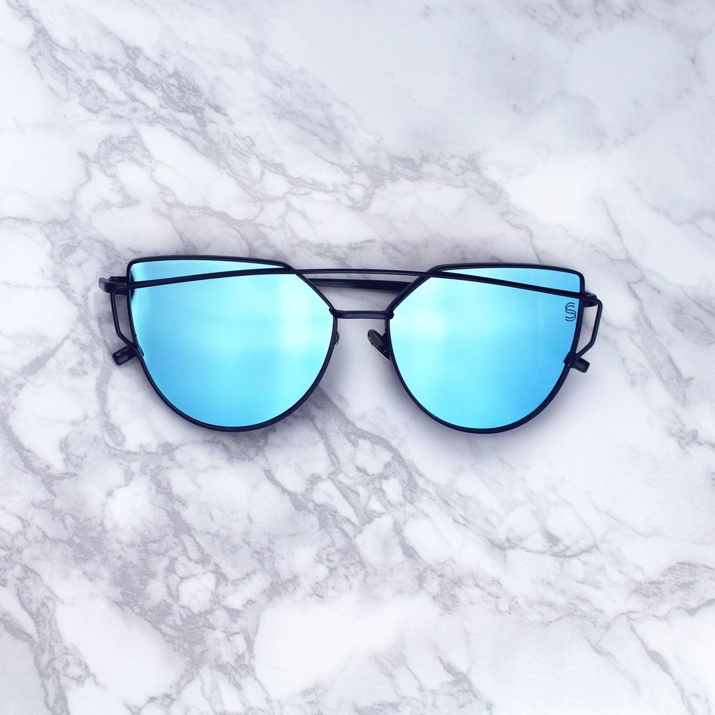 "84c236fe6387 Mirrored Cat Eye Sunnies Under $20. Use code ""PINTEREST"" for 15% OFF your  order. Sequin Sand pacific blue ..."