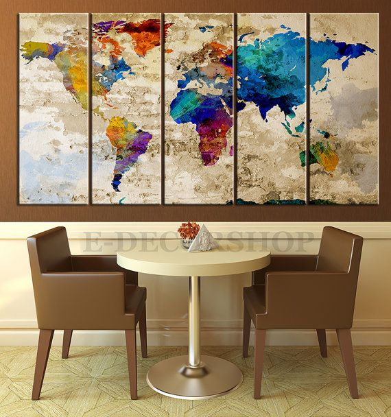 Retro world map canvas print art drawing on old wall watercolor retro world map canvas print art drawing on old wall watercolor world map 5 piece gumiabroncs Images