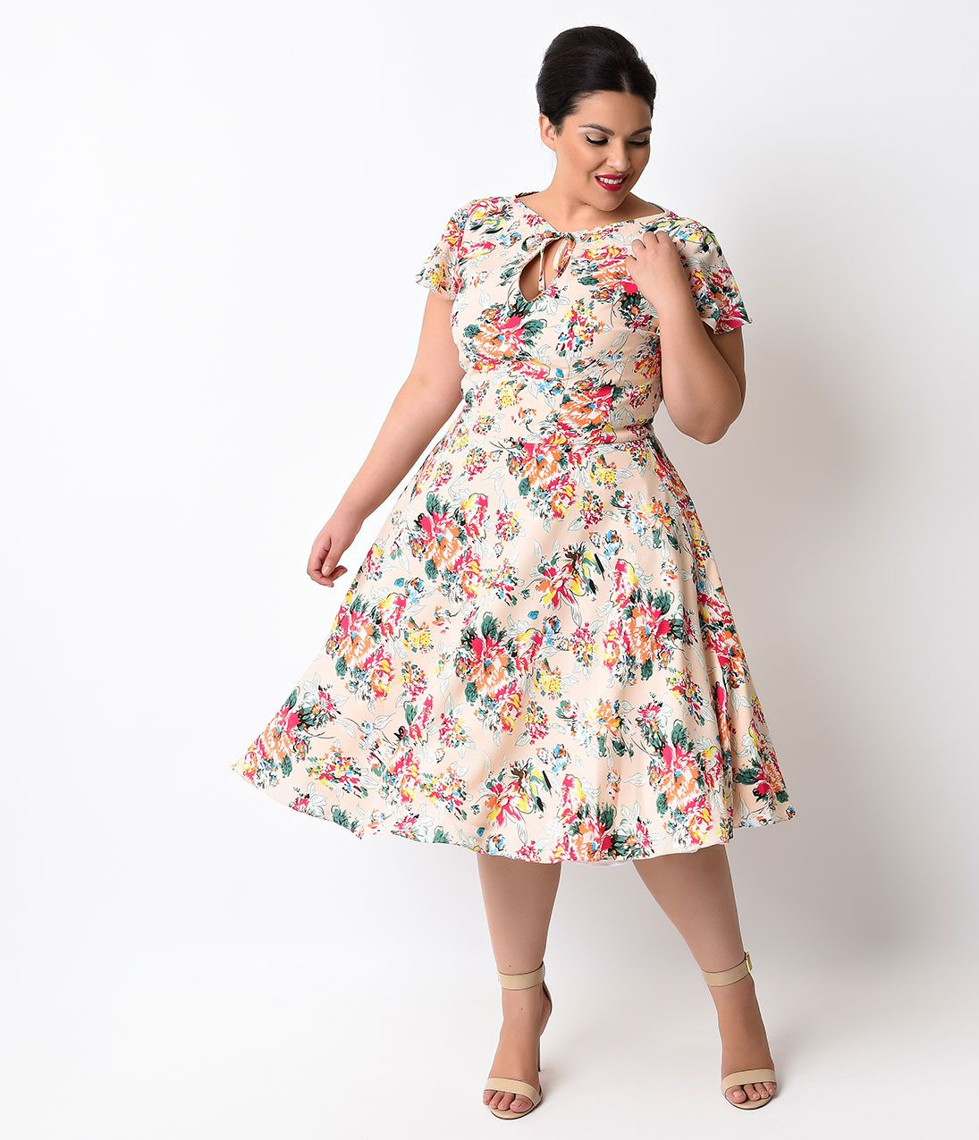 51b8f2422ae Unique Vintage Plus Size 1940s Style Pink Floral Formosa Swing Dress  98.00  AT vintagedancer.com