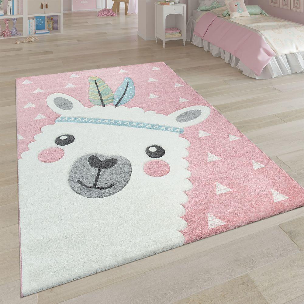 Teppich Kinderzimmer 3DMotiv Alpaka Rosa in 2020