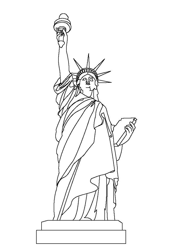 Collection of landmarks around the world coloring pages statue of liberty