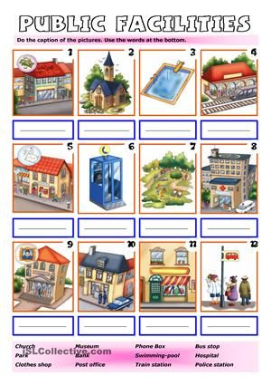 elementary matching worksheet on places in town esl worksheets ingles kindergarten. Black Bedroom Furniture Sets. Home Design Ideas