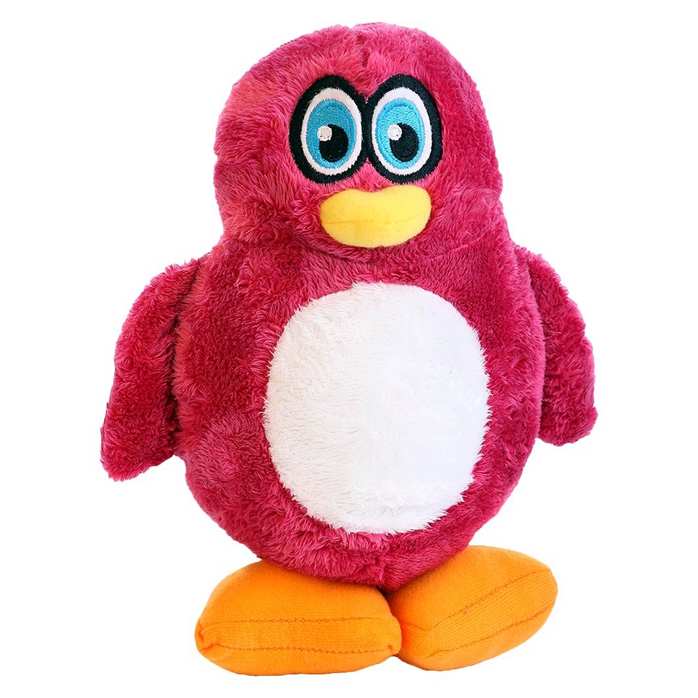 Hear Doggy Penguin Silent Squeak Plush Dog Toy Pink L Pet