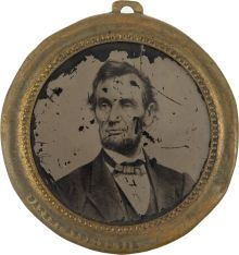 One of the largest sized Abraham Lincoln Ferrotype Campaign Badges for the 1864 Presidential Campaign.  (45 mm in diameter).