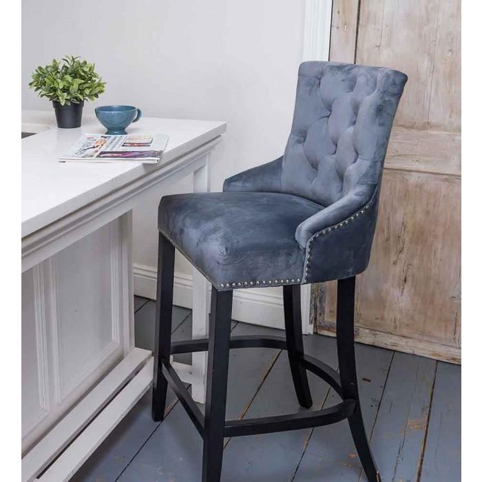Velvet Bar Stool With Wooden Legs Grey Upholstered Bar Stools Bar Stools Floor Seating