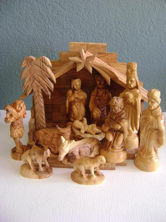 Vintage Creche Nativity Set Made In Israel Wood Christmas