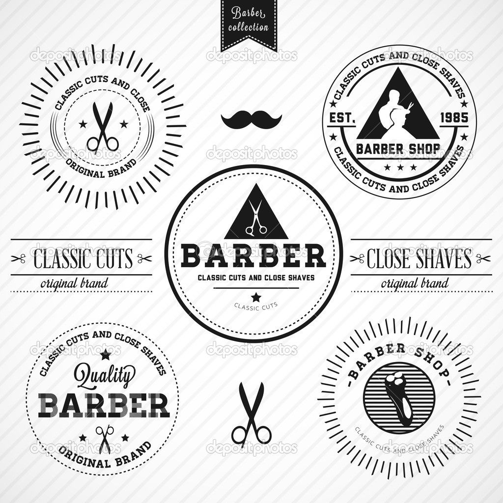 Antique barber shop sign - Set Of Vintage Barber Shop Badges By More Great Vectors Via Shutterstock