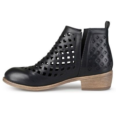 Women's Journee Collection Kat Cut-Out Caged Booties - Black 8.5