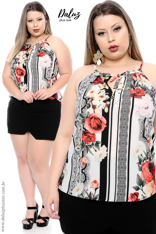 dab3c06b8 Blusa Plus Size - Coleção Alto Verão 2018 - www.daluzplussize.com.br ...
