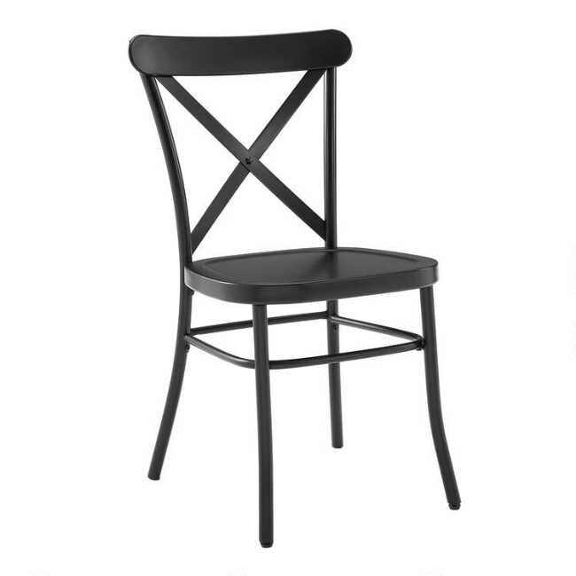 Matte Black Metal Bistro Dining Chairs Set of 2 by World Market #frenchindustrial
