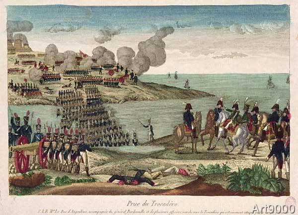 French School - Siege of Trocadero by Louis-Antoine de France (1775-1844) Duc d'Angouleme, 31st August 1823