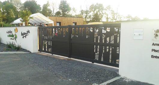 Portail aluminium coulissant décor découpe laser GYT Portail de - portail de maison en fer