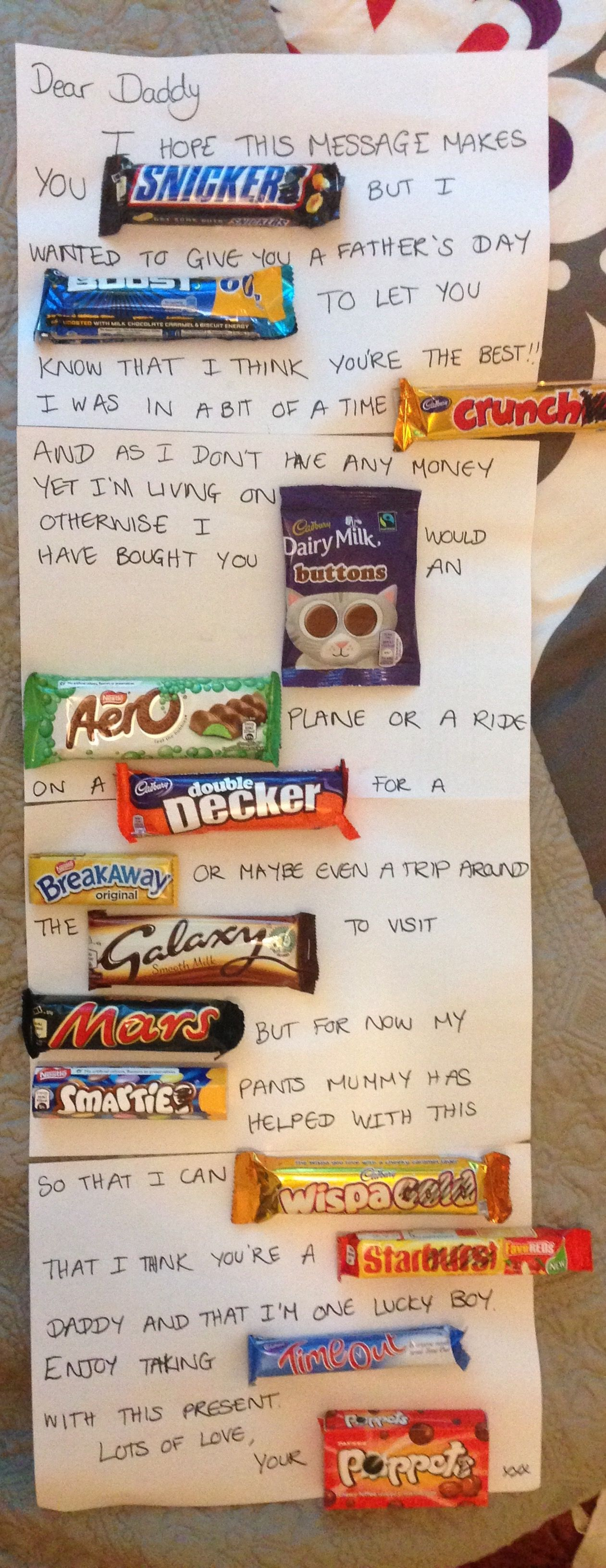 Father S Day Message In Chocolate Birthday Ideas For Husband