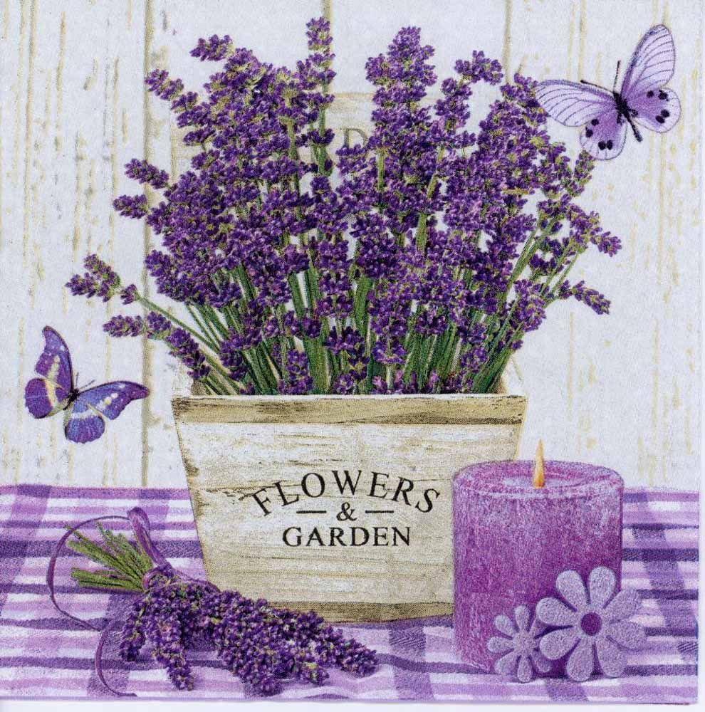 Decoupage Paper Napkin of Lavender Pot Candle and Butterfly | Decoupage Paper