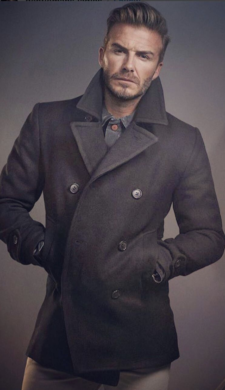 David Beckham Black Double Breasted Wool Winter Coat For Men