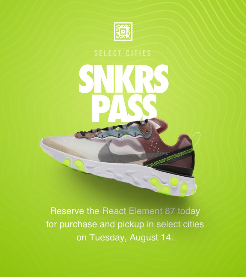 Launch calendar, Nike snkrs