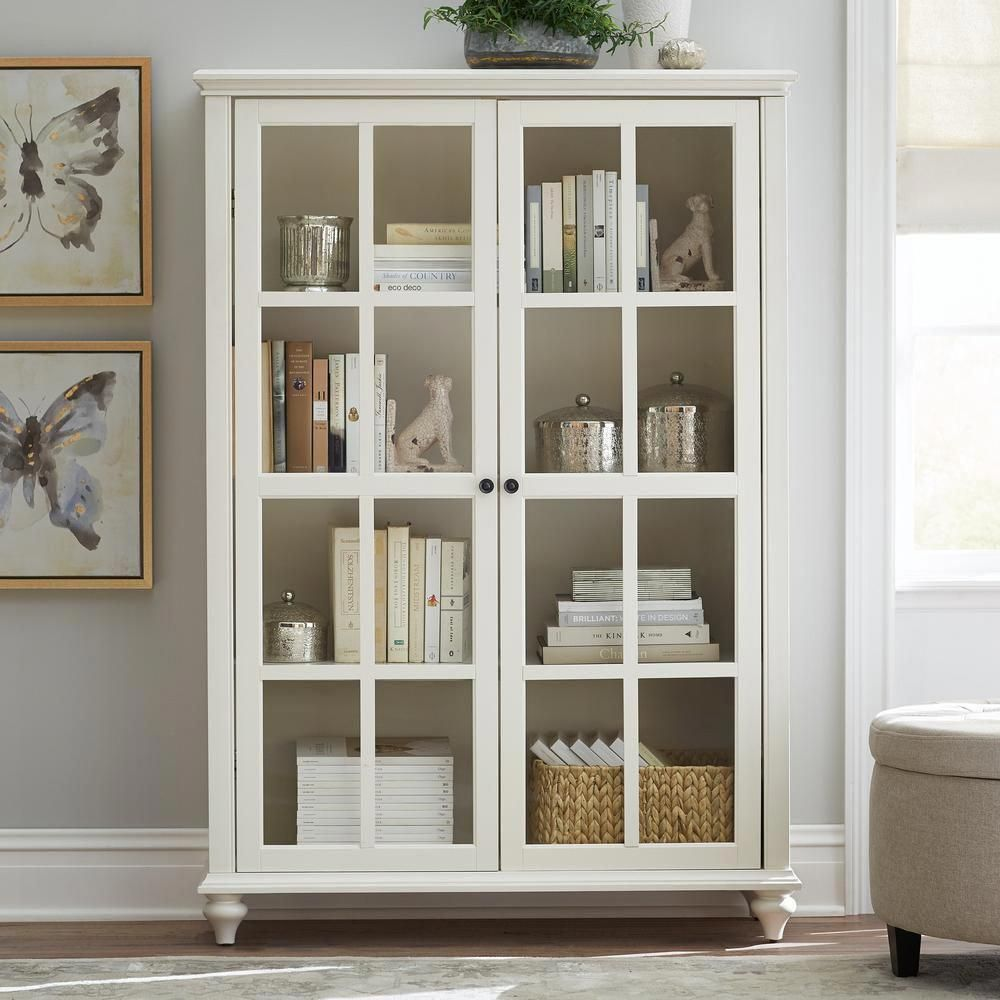 Home Decorators Collection 60 In Polar White Wood 4 Shelf Standard Bookcase With Adjustable Shelves 9787300410 The Home Depot Bookcase With Glass Doors Glass Cabinet Doors Easy Home Decor