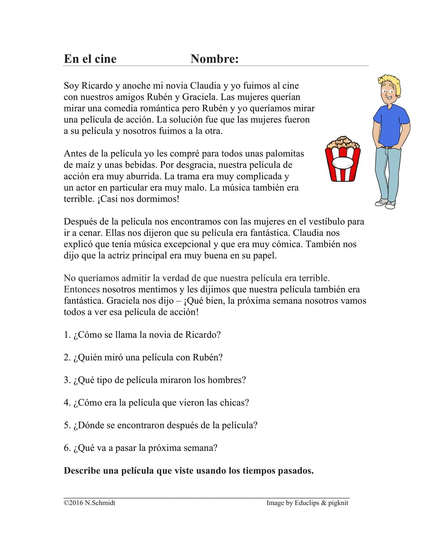 Imperfecto V Preterito Lectura En El Cine Spanische Lekture Unterrichtsmaterial Im Fach Spanisch Spanisch Lernen Schreibubungen Fremdsprachenunterricht