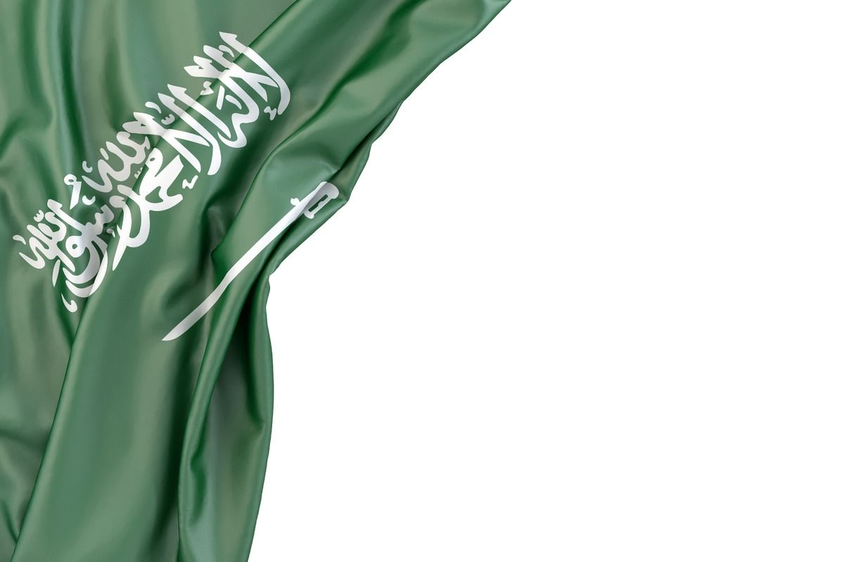 Flag Of Saudi Arabia In The Corner On White Background Isolated Contains Clipping Path Slon Pics Free Stock Saudi Arabia Flag Saudi Flag Ksa Saudi Arabia