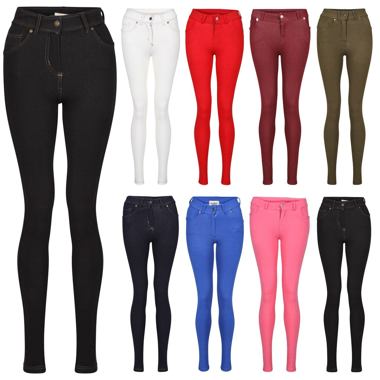 8c01dd3dcff Ladies Womens Coloured Skinny Fit Stretch Jeans Jeggings Leggings Summer  8-16
