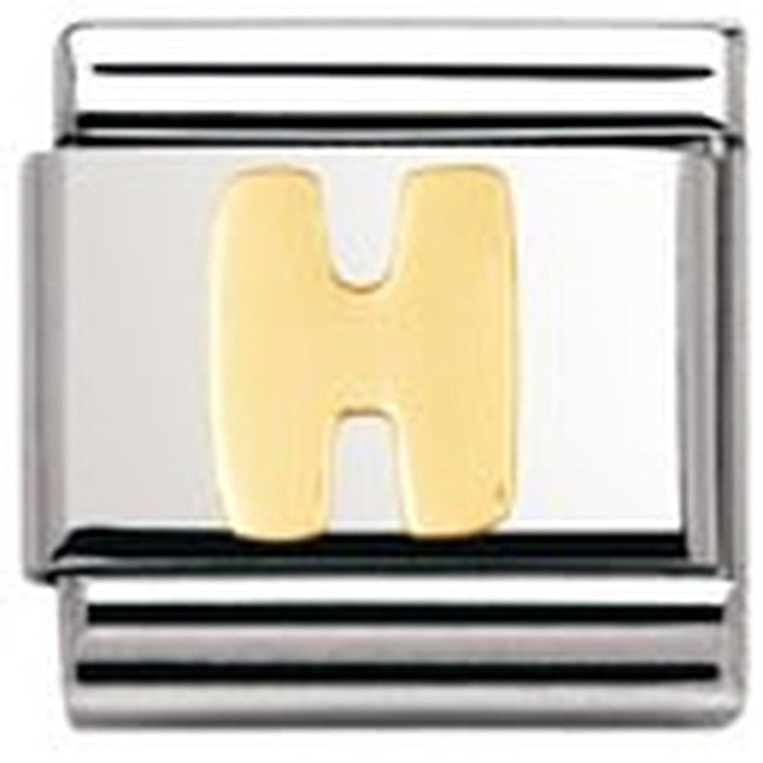 Nomination Composable Classic Letter A Stainless Steel and 18K Gold LquYuWVI