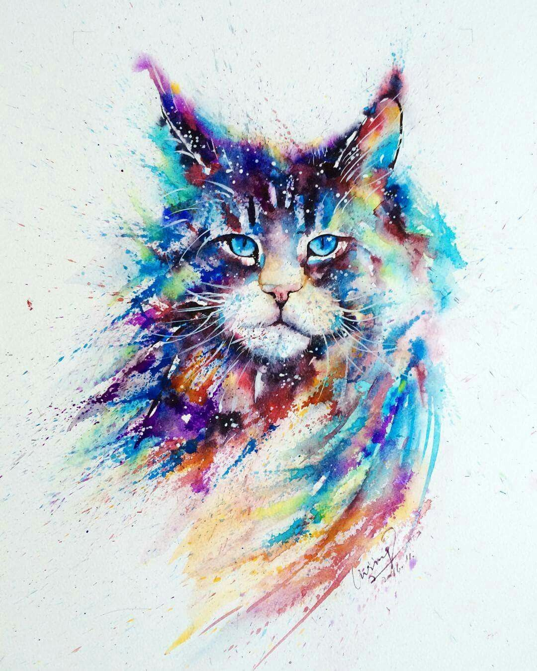 Cat Animal Colorful Art With Images Watercolor Cat Cat Art