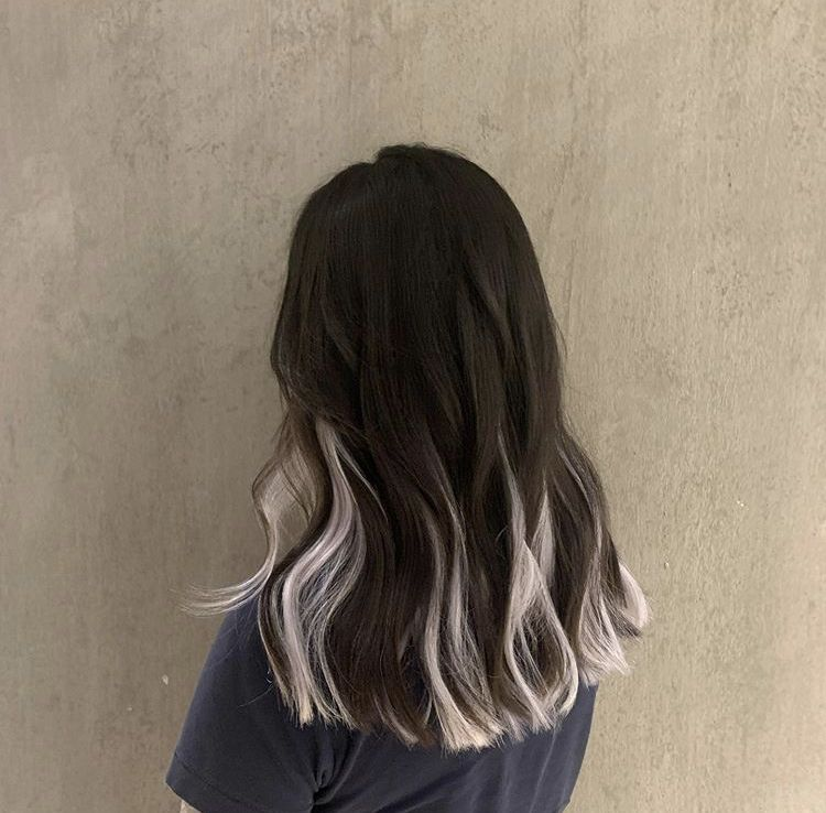 Image result for underneath hair dyed white