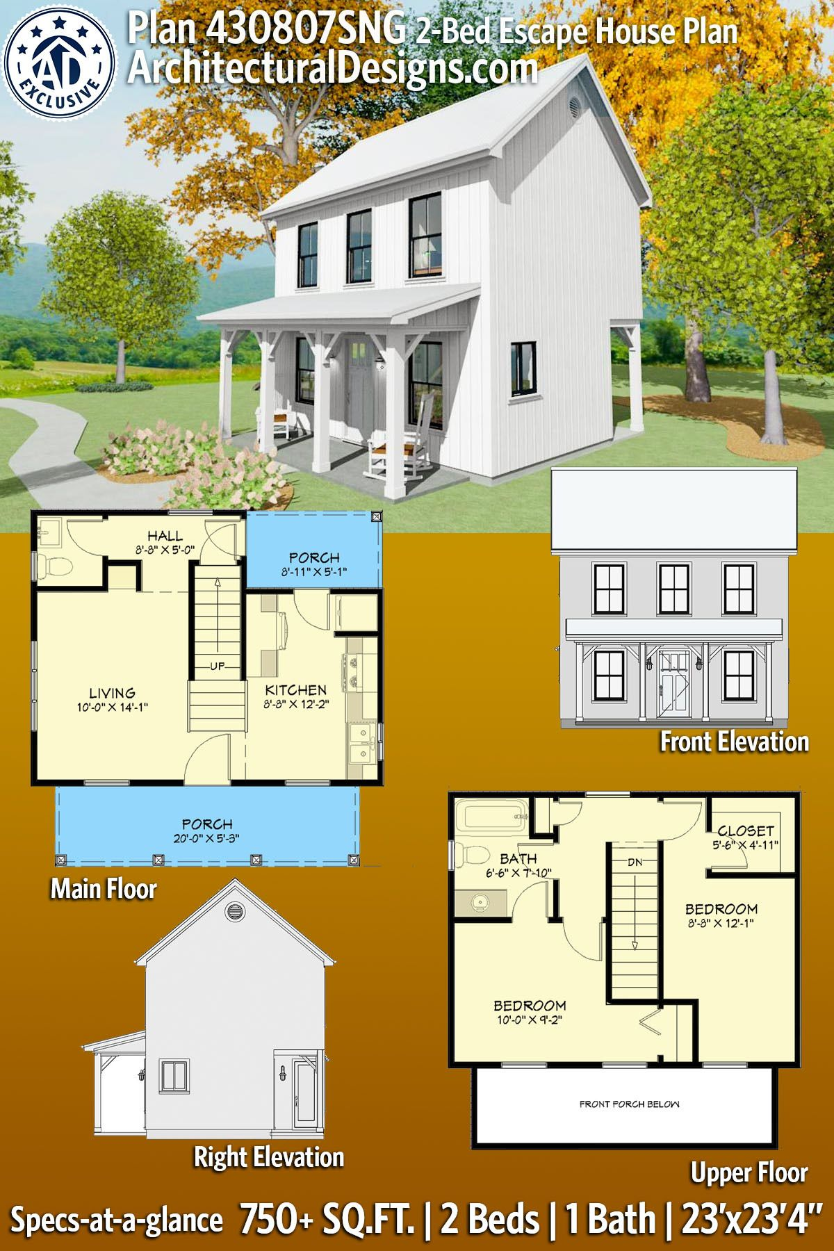 Plan 430807sng Exclusive Tiny Home Plan With Grill Porch In 2020 House Blueprints Sims House Plans Cottage House Plans