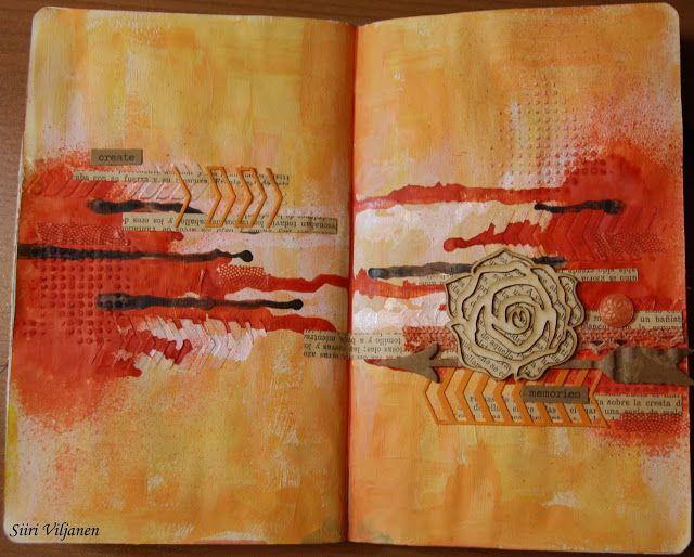 Käsitöitä flamencohame hulmuten: Uusi art journal -sivu / New art journal page