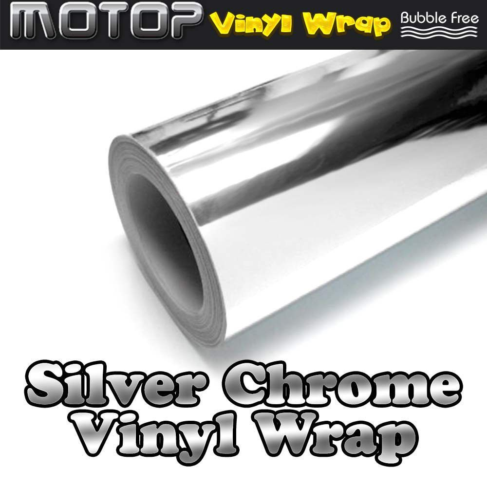 24 X60 Silver Chrome Mirror Vinyl Wrap Film Roll Sheet Sticker Air Free Mirror Vinyl Vinyl Wrap Chrome Mirror