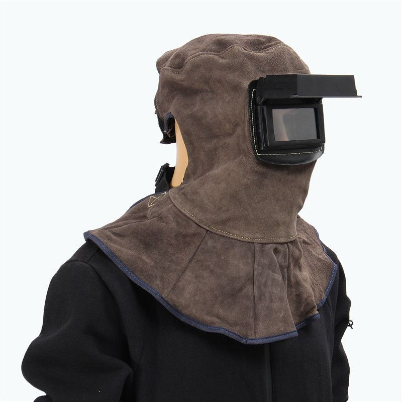 New Leather Face Neck Protected Welding Hood Helmet With