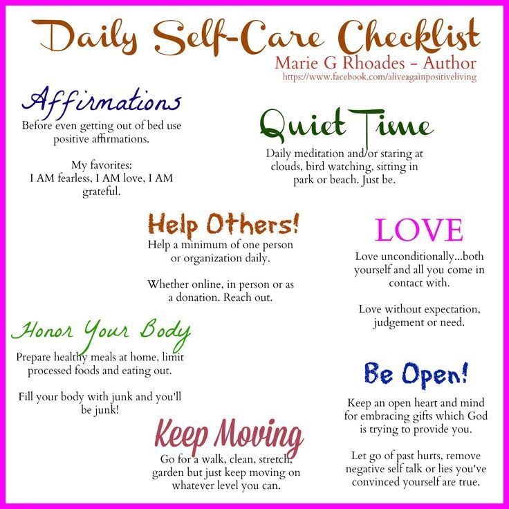 Daily Self Care Check List  MindfullnessWellbeing