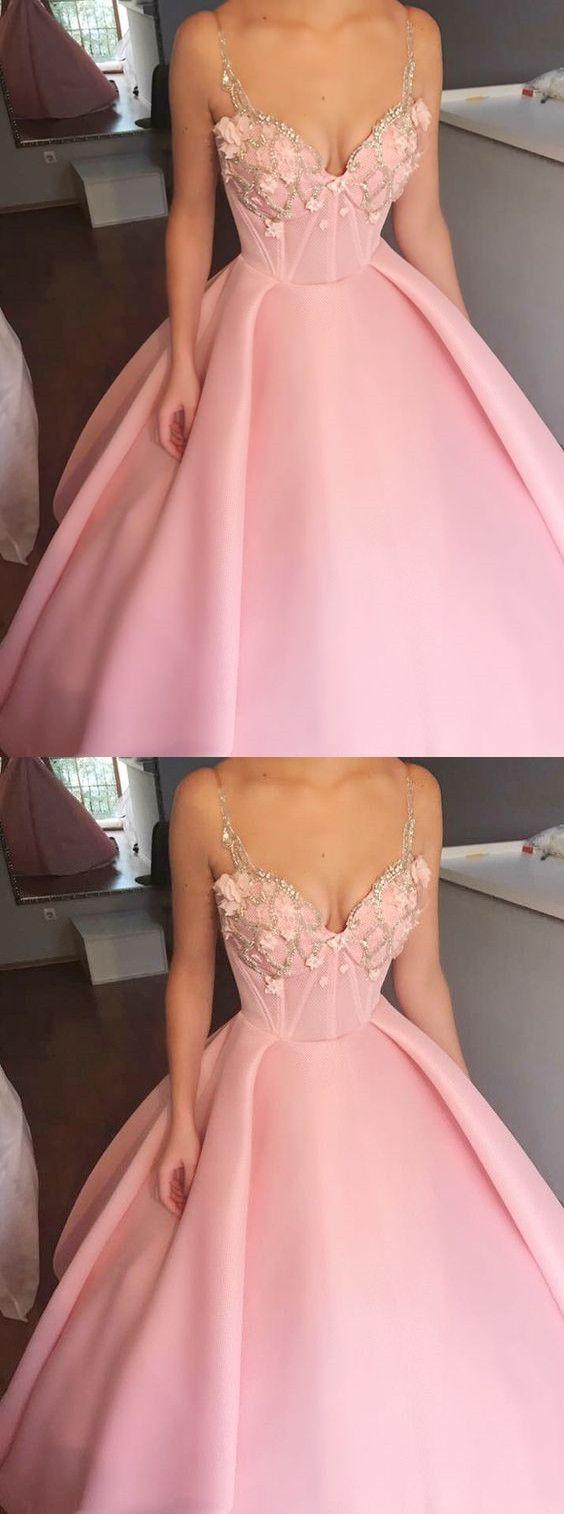 Elegant spaghetti straps pink satin prom dress fashion ball gown