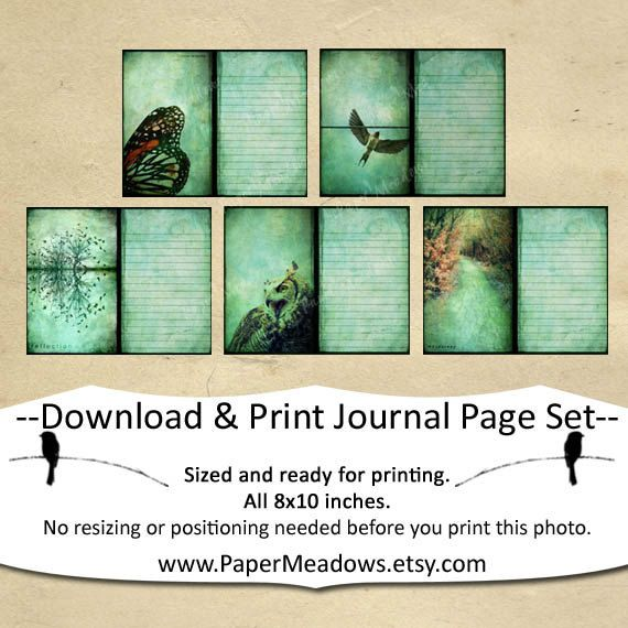 5 nature inspired 8x10 inch individual journal pages A perfect - lined page template