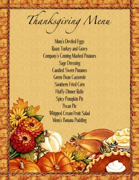 Menu Templates Free Download THANKSGIVING Thanksgiving Dinner - dinner menu templates free