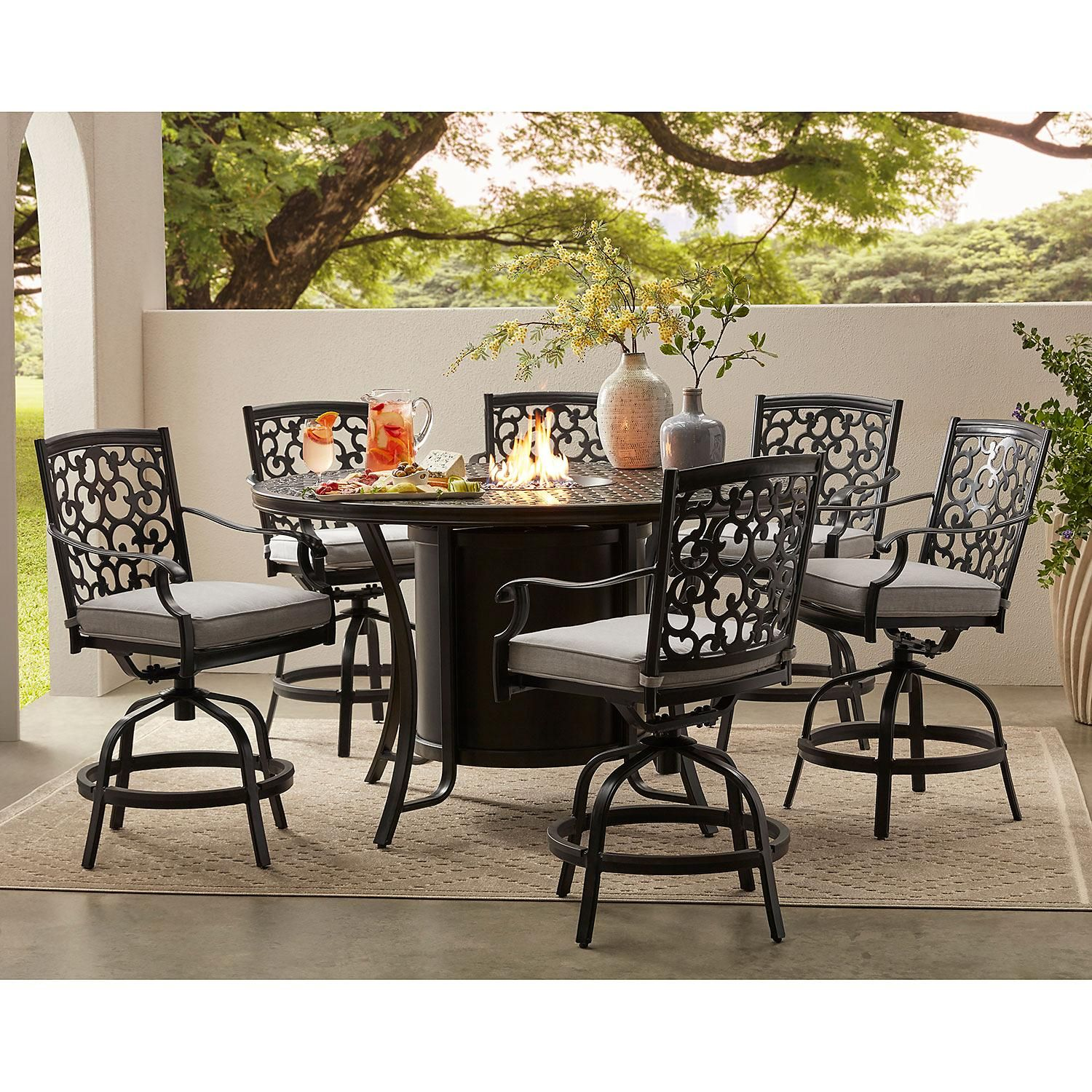 Member S Mark Agio Hastings 7 Piece High Dining With Fire Pit And