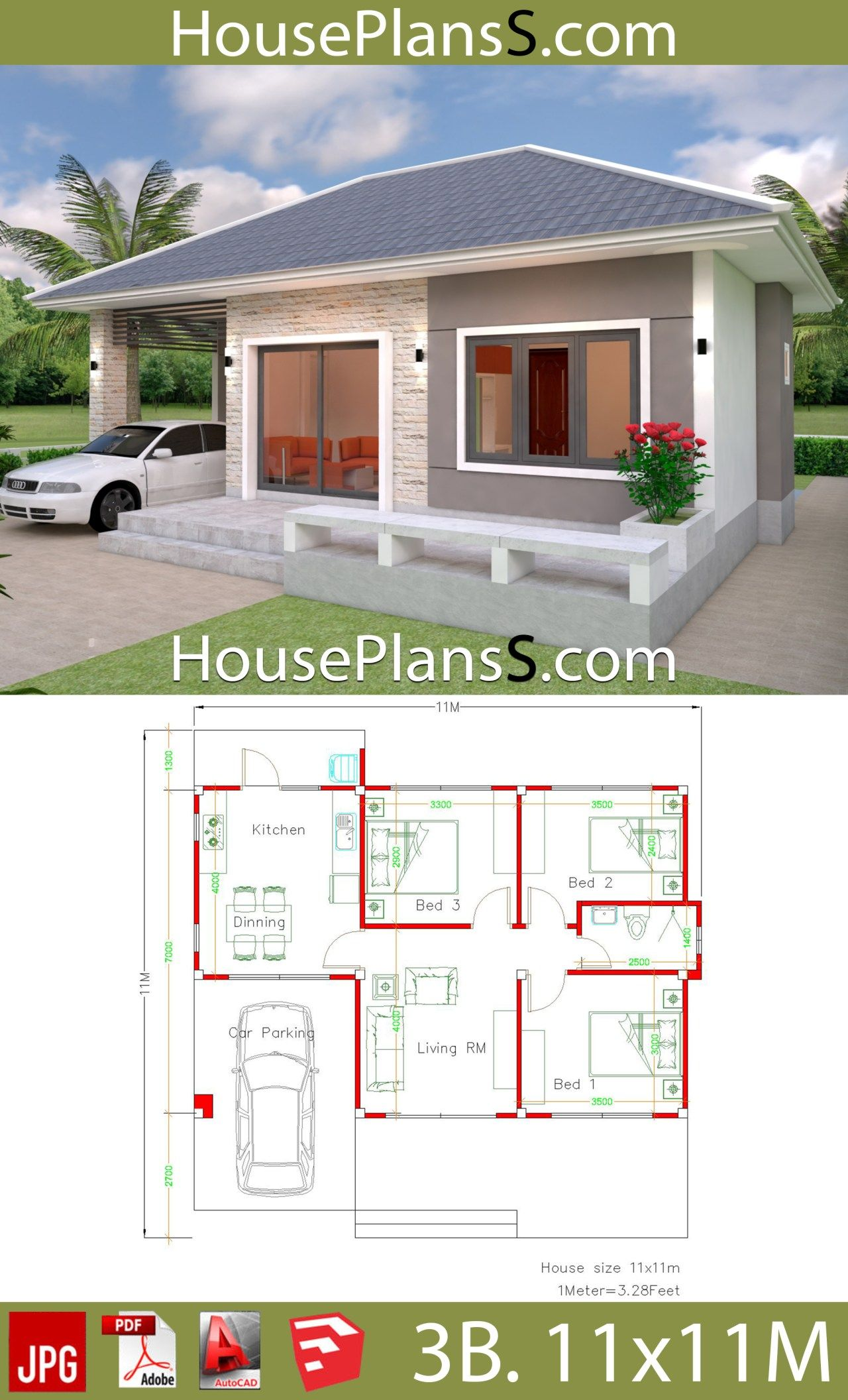 Simple House Design Plans 11x11 With 3 Bedrooms Full Plans Em 2020 Projetos De Casas Simples Projetos De Casas Populares Planta Baixa Residencial