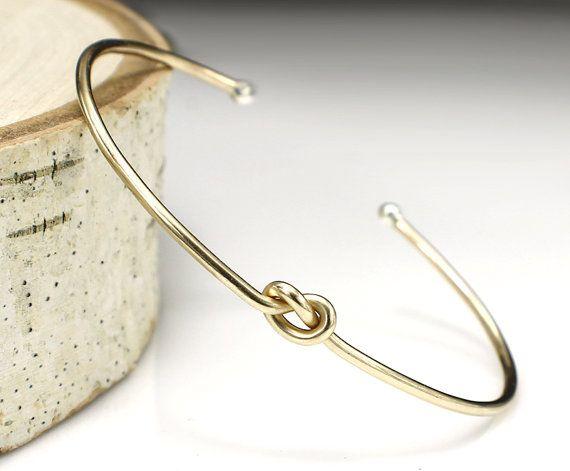 Gold Knot Bracelet Love Knot Bracelet Bridesmaid Jewelry Set Or