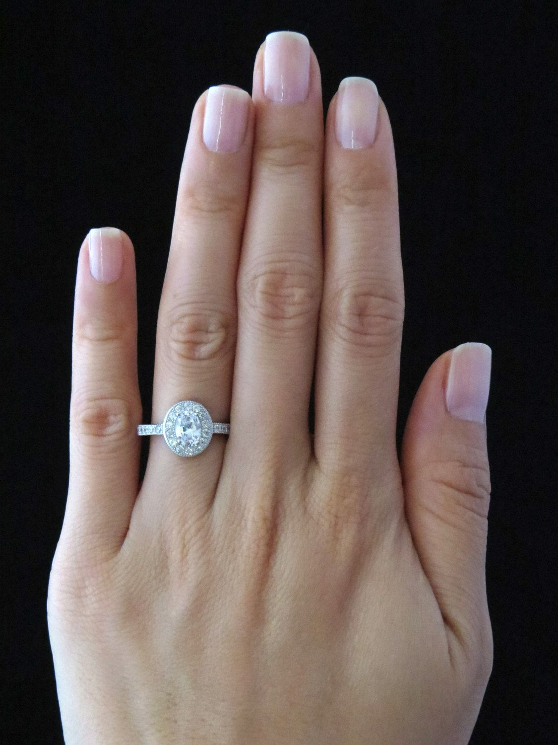 1 ctw Oval Promise Ring Halo Gatsby Style Engagement Ring Man Made