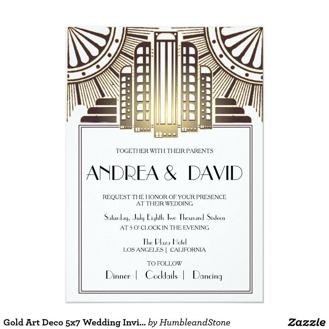 Gold Art Deco 5x7 Wedding Invitation | Gold Wedding Invitations ...