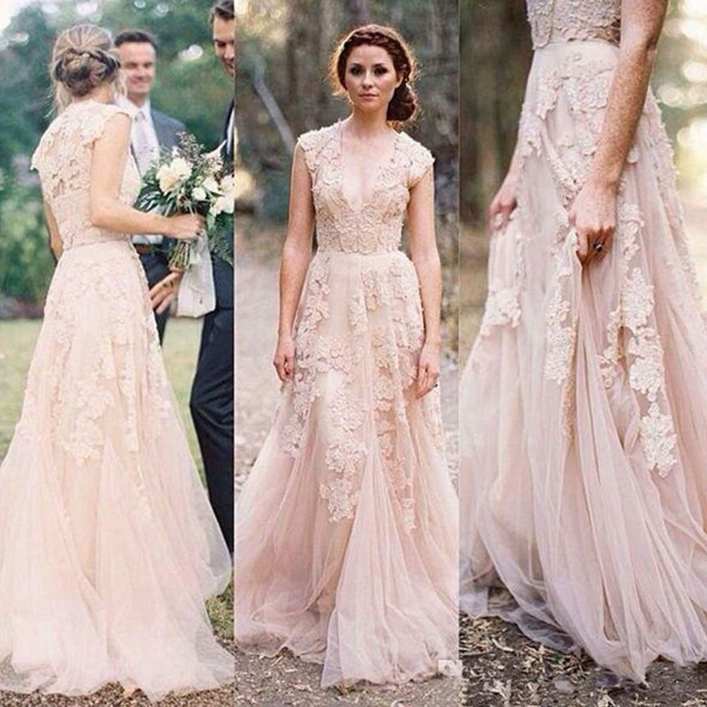 Charming pink lace sexy vneck long sheath tulle wedding dresses
