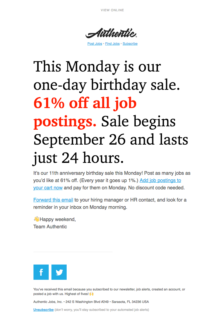 Authentic Jobs sent this email with the subject line: Psst… Sale ...